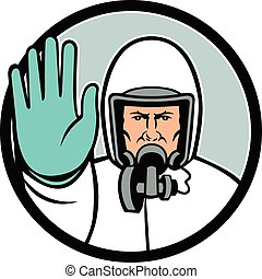 medical-worker-ppe-frnt-stop-hand-signal-mascot