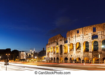 rome, colosseum, italy, sunset.